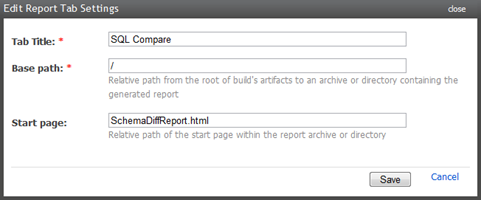 Adding a report tab to the build