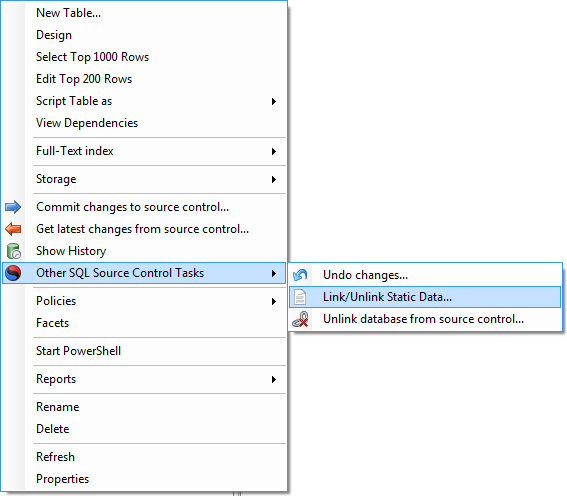 Context menu to add a table to VCS as static data