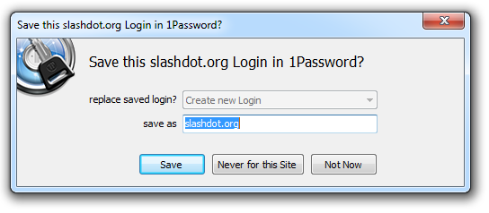 1Password saving credentials