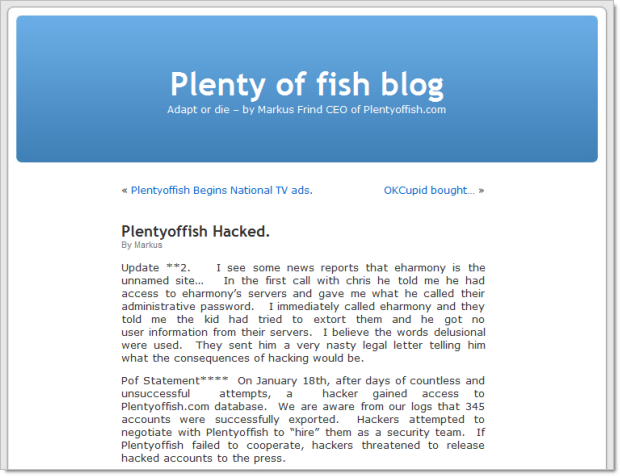 Plenty of Fish hacked notice