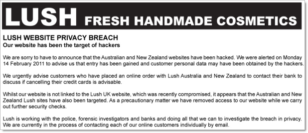 Lush Australia hacked notice
