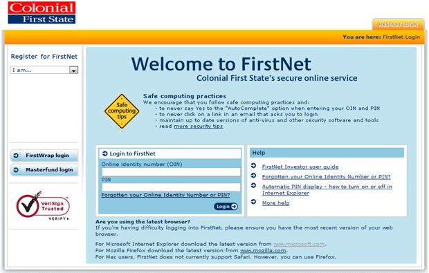 Colonial First State logon screen