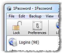 1Password showing 98 logins