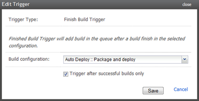 Creating a trigger off a successful package and deploy build