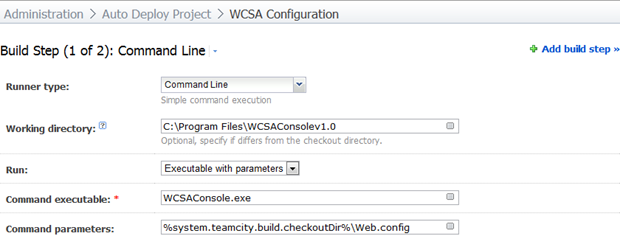 The command line runner executing WCSA