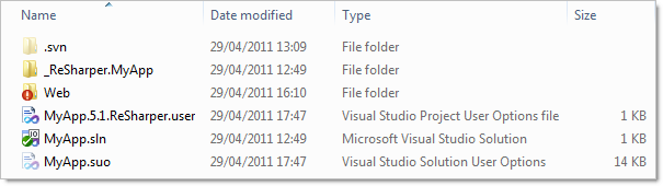 Typical .NET app showing user setting files