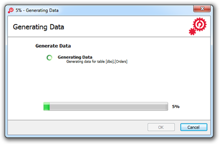Data generation in progress window