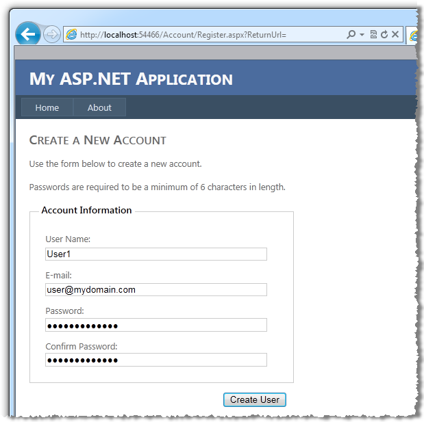 Standard ASP.NET web application interface to create a new account