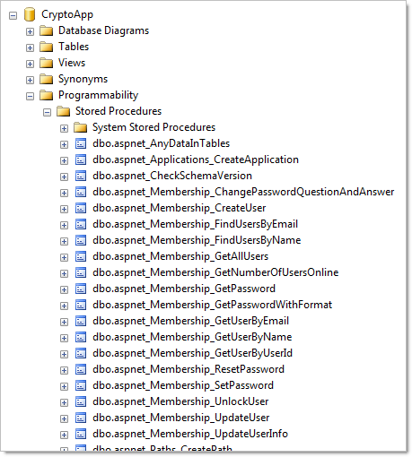 Stored procedures created for the ASP.NET membership provider