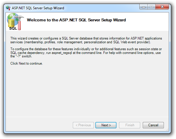 The ASP.NET SQL Server setup wizard