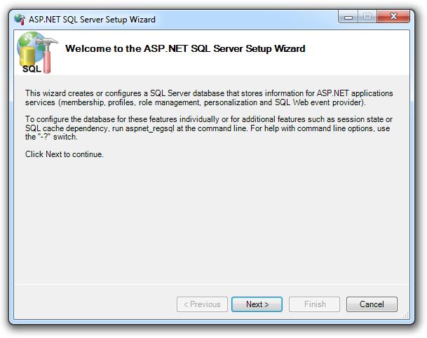 The ASP.NET SQL Server setup wizard