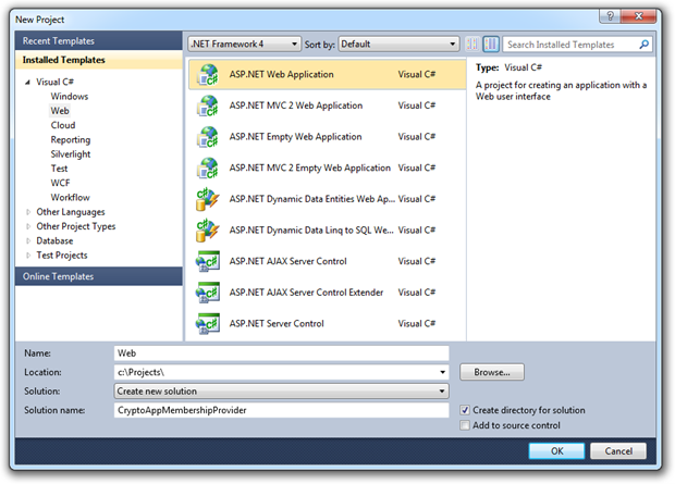 Starting a new ASP.NET web application solution