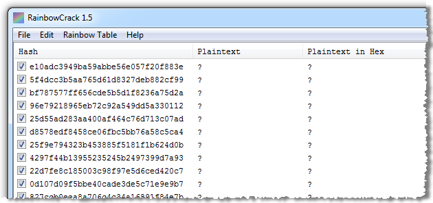 RainbowCrack showing all password hashes