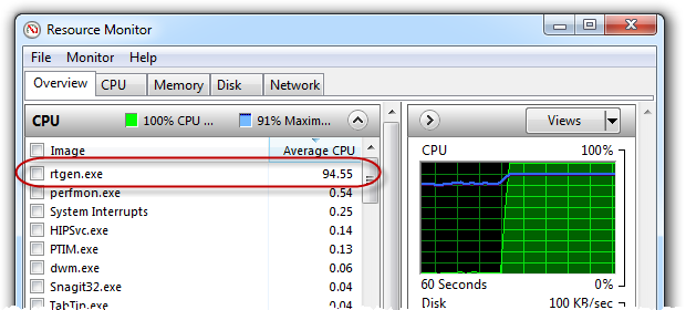 RainbowCrack using 100% of CPU