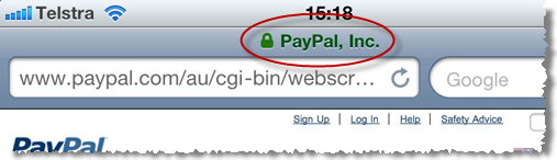 iPhone showing the presence of PayPal SSL