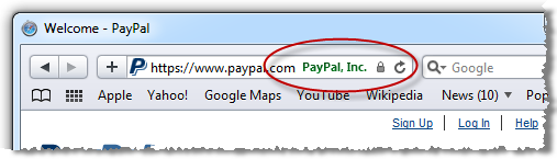 Safari showing the presence of PayPal SSL