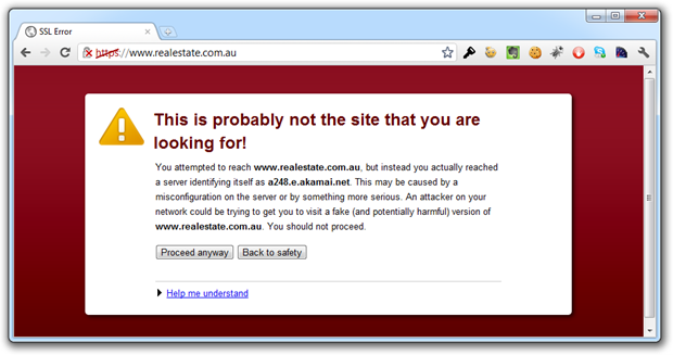 Native browser warning showing an invalid HTTPS address