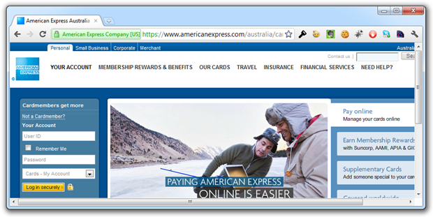 American Express page showing both HTTPS and a padlock icon