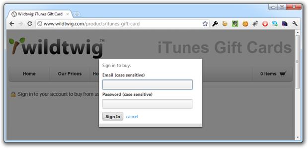 wildtwig login page showing padlock icon but no HTTPS