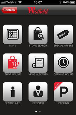 Westfield malls app home page