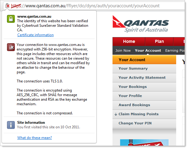 The Qantas website loading mixed content and causing a browser warning