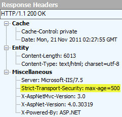 "The ""Strict-Transport-Security"" attribute in the response header"