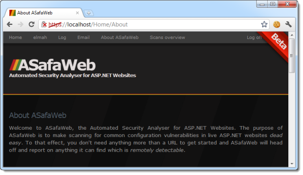 The ASafaWeb website running locally with a self-signed certificate
