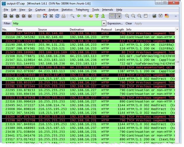 Reviewing the captured HTTP packets using Wireshark