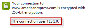The TLS version displayed on American Express' certificate