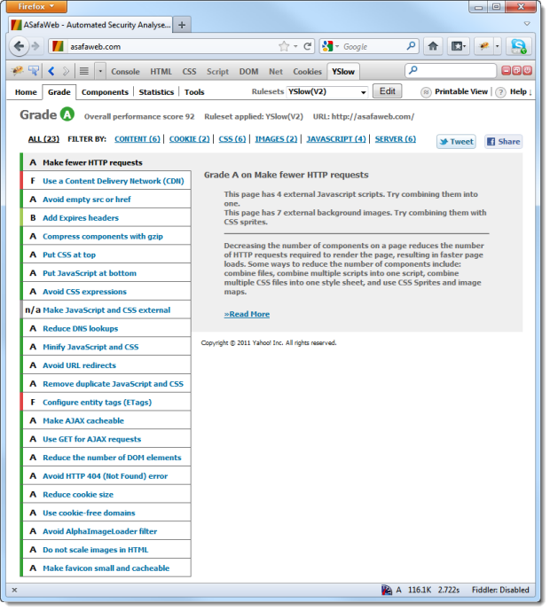 YSlow report of ASafaWeb before optimisaiton