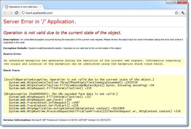 ASP.NET error when more than 1,000 form params are posted to a page