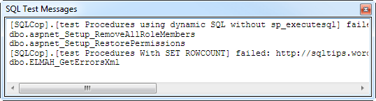 SQL Test messages after failing on the ASafaWeb database