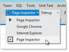 Running the solution with the Page Inspector