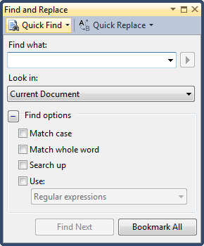 Find and replace in VS 2010