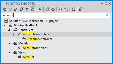Matching a search term in the solution explorer
