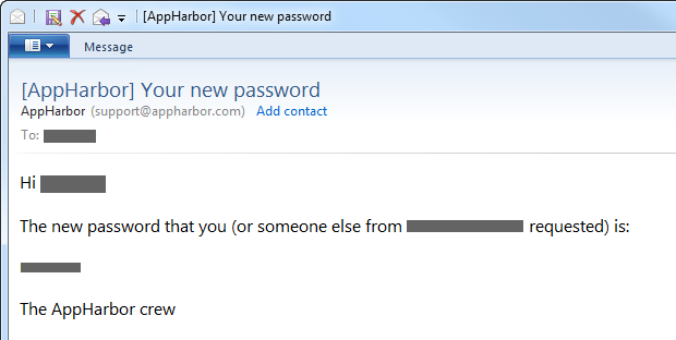 AppHarbor email with a new password
