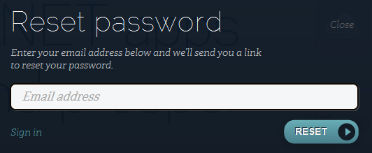 Begining a password reset on AppHarbor