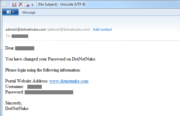 DotNetNuke emailing a new password in plain text