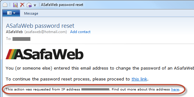 An ASafaWeb password reset email with info about the requestor's IP