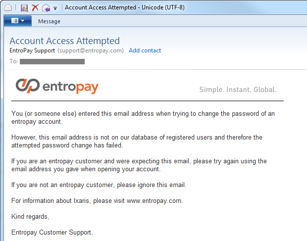 Entropay email explaining the account doesn't exist