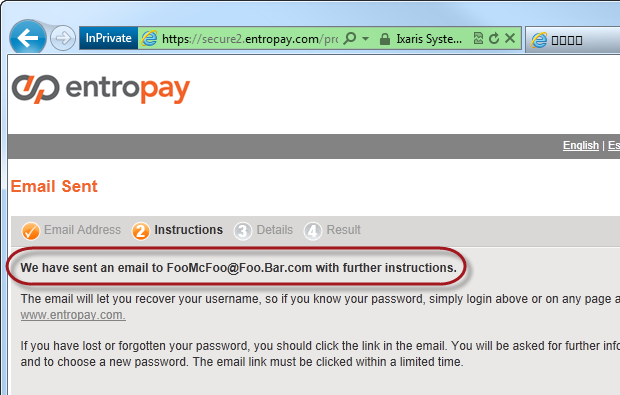 Entropay emailing instructions to the provided address