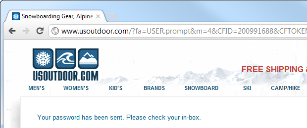 Password sent by usoutdoor.com