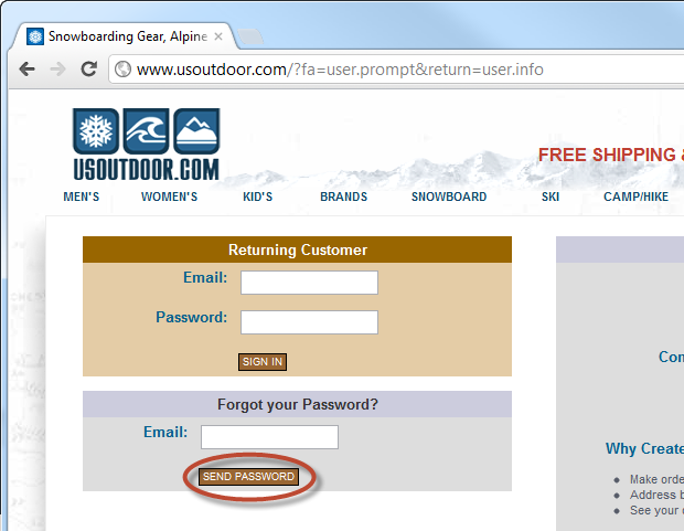 Requesting a password reminder from usoutdoor.com