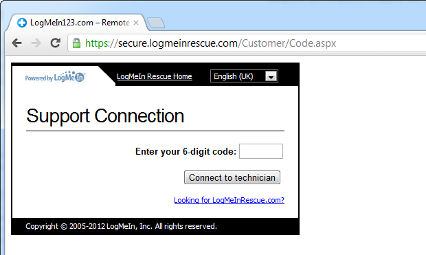 The LogMeIn log in page