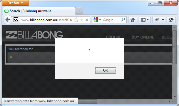 XSS on the Billabong search page