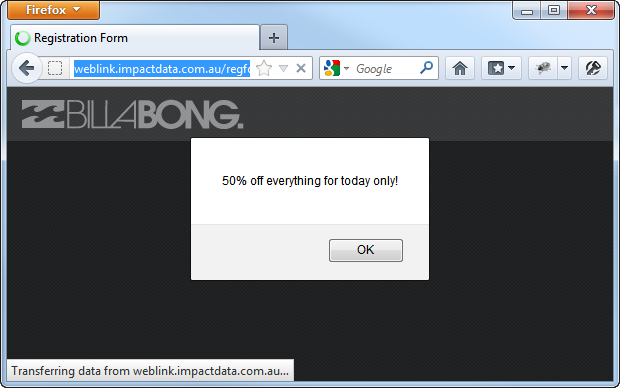 XSS on the registration page