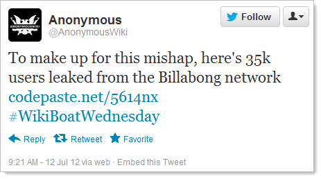 @AnonymousWiki claiming credit for the Billabong breach