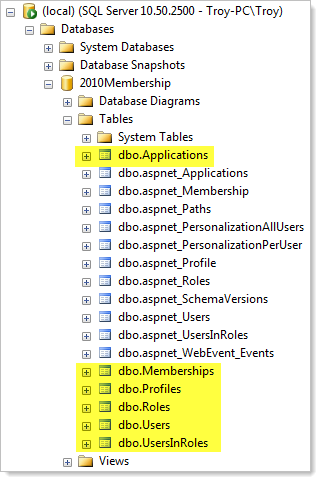 New membership provider tables appear next to the old ones