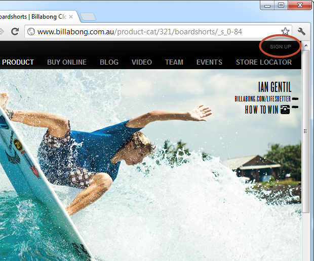 billabong.com.au with a sign up link