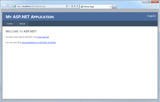 A default Visual Studio 2010 template